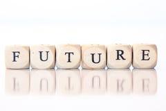 Futuro, deletreado con las letras de los dados Foto de archivo