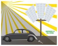 Futuro dell'ambiente di clima di inquinamento del combustibile dell'automobile del sole dell'energia rinnovabile del pannello sol Fotografia Stock