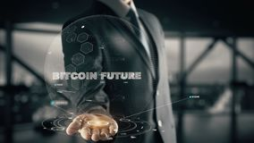 Futuro di Bitcoin con il concetto dell'uomo d'affari dell'ologramma Fotografia Stock Libera da Diritti