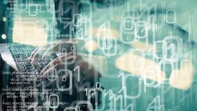 Futuro di tecnologia, attacco cyber del pirata informatico di computer stock footage