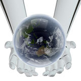 Futuro di terra in mani di tecnologia Fotografie Stock