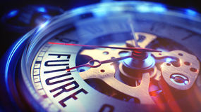 Futuro - testo sull'orologio d'annata della tasca illustrazione 3D Fotografia Stock Libera da Diritti