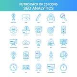 25 Futuro verde e azul SEO Analytics Icon Pack ilustração royalty free