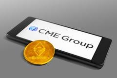 Futuros de Ethereum e de CME Group e troca de opções imagem de stock royalty free