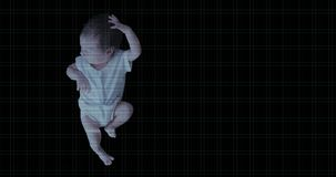 Futursitic biometric scan of a newborn baby girl. 4K UHD animation with copy space stock video footage