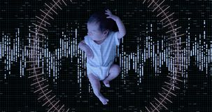 Futursitic biometric scan of a newborn baby girl. 4K UHD animation with copy space stock video