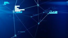 Futurystyczna abstrakcjonistyczna błękitna sieci i dane związku siatki ilustracja zdjęcia stock
