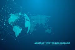 Futurystyczna abstrakcjonistyczna wektorowa tła blockchain technologia Rówieśnik przyglądać się sieć biznesu pojęcie globalny royalty ilustracja
