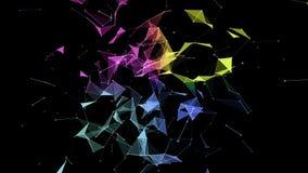 Futurystyczna animacja z rozjarzonymi trójbokami w zwolnionym tempie, 4096x2304 4K pętla ilustracja wektor