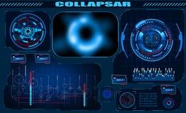 Futurystyczna graficznego interfejsu Czarna dziura, sumaryczny za?mienie, hud projekt, infographic elementy Temat i nauka temat ilustracja wektor