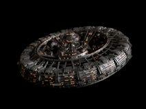Futurystyczna stacja kosmiczna odizolowywająca na czarnym tle, wysoki szczegółu statku kosmicznego dyska 3d nauki fikci rendering royalty ilustracja