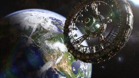 Futurystyczna stacja kosmiczna w orbicie planety ziemi 3d nauki fikci ilustracja, elementy ten wizerunek mebluje NASA ilustracji
