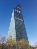 Futurystyczne drapacz chmur kwatery główne Finansbank w Levent Istanbuł Obraz Stock