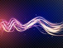 Futurystyczne fala w prędkość ruchu Błękitne i fiołkowe faliste dynamiczne linie z błyskają na przejrzystym tle magia royalty ilustracja