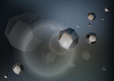 Futurystyczne niskie poli- skały - asteroidy w przestrzeni Obrazy Royalty Free