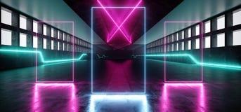 Futurystycznego Neonowego Sci Fi Hall Windows betonu Grunge laser?w sceny Wibruj?cego Rozjarzonego Purpurowego B??kitnego Bia?ego royalty ilustracja