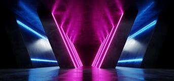 Futurystycznego Retro Neonowego taniec sceny przedstawienia mody obcego Sci Fi Grunge Nowożytnego Ciemnego Odbijającego betonu po ilustracja wektor
