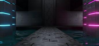 Futurystycznego Sci Fi statku Nowożytnego Obcego zmroku Grunge Pusty beton R ilustracji