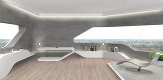 Futurystycznej awangardy żywy izbowy wnętrze zdjęcia royalty free