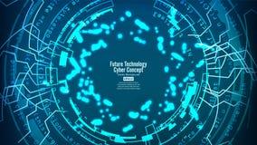 Futurystycznej technologii Podłączeniowa struktura pochodzenie wektora abstrakcyjne Błękitna Elektroniczna sieć Cyfrowego systemu Zdjęcia Stock