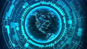 Futurystycznej technologii Podłączeniowa struktura pochodzenie wektora abstrakcyjne Błękitna Elektroniczna sieć Cyfrowego systemu Obraz Royalty Free