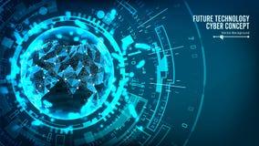 Futurystycznej technologii Podłączeniowa struktura pochodzenie wektora abstrakcyjne Przyszłościowy Cyber pojęcie Cyfrowego system Zdjęcie Stock