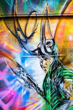 Futurystyczni mężczyzna graffiti ilustracja wektor