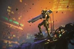 Futurystyczny żołnierz w żółtym kostiumu z pistoletem
