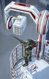Futurystyczny żołnierza miasta opiekun ilustracja wektor