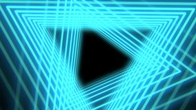 Futurystyczny abstrakcjonistyczny tło z neonowymi błękita światła trójbokami, bezszwowa pętla Neonowi geometryczni kształty i lin ilustracja wektor
