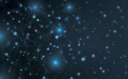 Futurystyczny abstrakt iluminuje linię i kropkuje podłączeniowego jaskrawego błękit na czarnym tle z konceptualną cudu ruchu graf fotografia stock