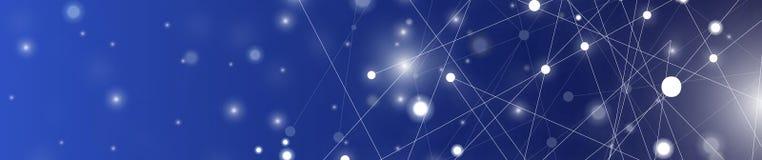 Futurystyczny abstrakt iluminuje linię i kropkuje podłączeniowego jaskrawego błękit na czarnym tle z konceptualną cudu ruchu graf zdjęcia stock