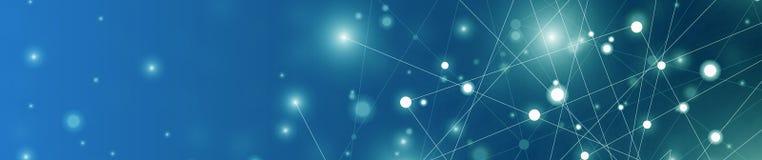 Futurystyczny abstrakt iluminuje linię i kropkuje podłączeniowego jaskrawego błękit na czarnym tle z konceptualną cudu ruchu graf ilustracji