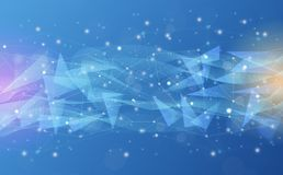 Futurystyczny abstrakt iluminuje linię, kropkuje bezprzewodowego związek i macha z trójbokiem jaskrawym na błękitnym tle z koncep royalty ilustracja