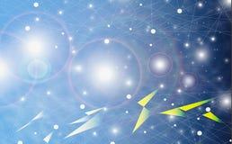 Futurystyczny abstrakt iluminuje linię, kropkuje bezprzewodowego związek i macha z trójbokiem jaskrawym na błękitnym tle z koncep ilustracja wektor