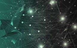 Futurystyczny abstrakt iluminuje linię, kropkuje bezprzewodowego związek i macha z trójbokiem jaskrawym na ciemnozielonym tle, z royalty ilustracja