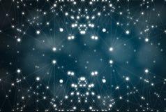 Futurystyczny abstrakt iluminuje linię i kropkuje bezprzewodowego związek z trójbokiem jaskrawym na błękitnym tle z konceptualnym zdjęcie stock