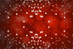 Futurystyczny abstrakt iluminuje linię i kropkuje bezprzewodowego związek z trójbokiem jaskrawym na czerwonym tle z konceptualnym obrazy royalty free