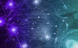 Futurystyczny abstrakt iluminuje linię, kropkuje bezprzewodowego związek i macha z trójbokiem jaskrawym na tle purpur i zielen ilustracja wektor