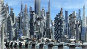 Futurystyczny architektoniczny miasto ilustracja wektor