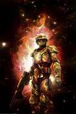 Futurystyczny astronautyczny żołnierz i ogień ilustracja wektor
