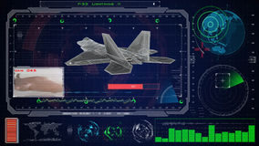 Futurystyczny błękitny wirtualny graficzny dotyka interfejs użytkownika HUD Dżetowy f 22 samolot Zdjęcie Stock
