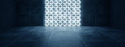 Futurystyczny ciemny tunel z round neonowymi lampami odbiciami i royalty ilustracja