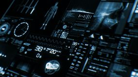 Futurystyczny cierpliwego monitoru ekran w perspektywicznym, Medycznym parawanowym interfejsie/ royalty ilustracja
