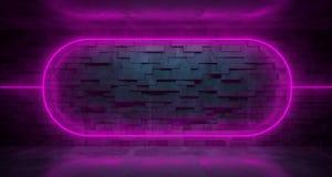 Futurystyczny fantastyka naukowa pokój Z purpurowymi Neonowymi światłami I ściana z cegieł Wi ilustracji