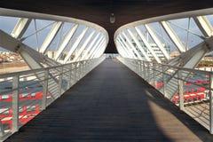 Futurystyczny footbridge w zaawansowany technicznie parku w Piwnym Sheva Obraz Stock