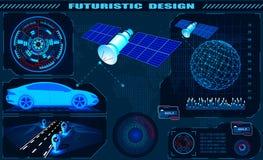 Futurystyczny graficzny interfejs, satelitarna samochodowa GPS nawigacja, hud projekt, kula ziemska hologram ilustracja royalty ilustracja