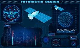 Futurystyczny graficzny interfejs, satelity kontrola, hud projekt, hologram kula ziemska ilustracja ilustracja wektor
