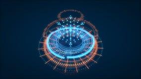 Futurystyczny HUD interfejsu element, UI Głębia pole na plecy perskiego dywanu szczegół Dane Scien royalty ilustracja