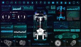 Futurystyczny interfejs użytkownika Samochód usługowy HUD royalty ilustracja
